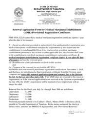 """Renewal Application Form for Medical Marijuana Establishment (Mme) Provisional Registration Certificates"" - Nevada"