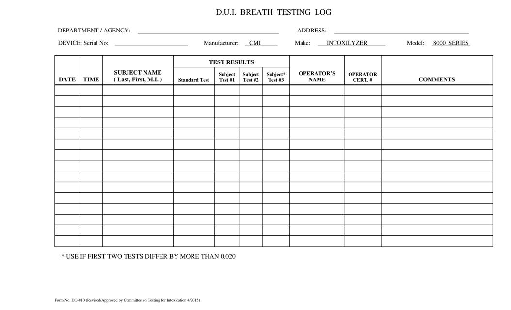 Form DD-010  Printable Pdf