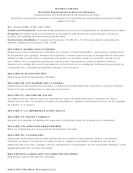 """Formulario DHR/CSEA980/980A """"Solicitud Para Los Servicios De Manutencion"""" - Maryland (Spanish)"""