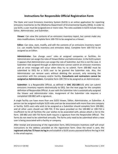 DEQ Form 100-882  Printable Pdf