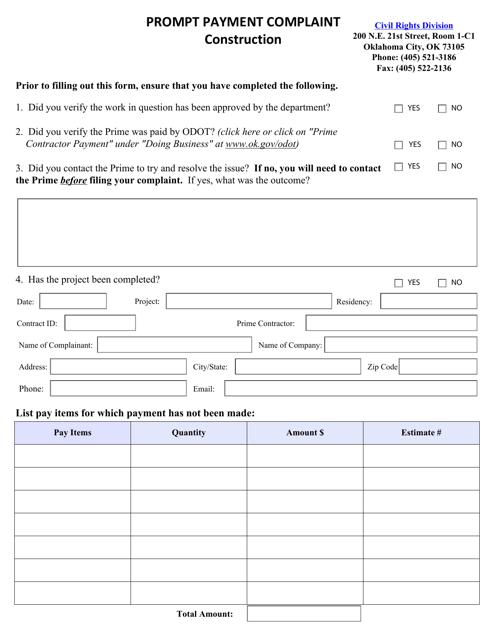"""Prompt Payment Complaint Form - Construction"" - Oklahoma Download Pdf"