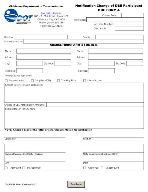 DBE Form 4  Printable Pdf