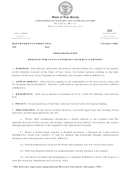 "NJDMAVA Form 016 ""Request for Legal Advice"" - New Jersey"