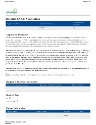 "Form EARC-3 ""Hospital Earc Application"" - New Jersey"