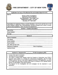 "Form FI-101 ""Application for Copy of Fire Marshal Fire and Incident Report"" - New York City"