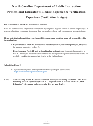 "Form E ""Professional Educator's License Experience Verification"" - North Carolina"