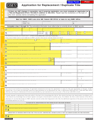 """Form 735-515 """"Application for Replacement / Duplicate Title"""" - Oregon"""