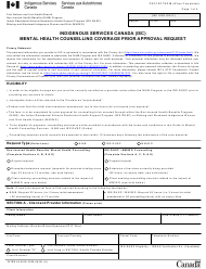 """Form INTER40-001E """"Mental Health Counselling Coverage Prior Approval Request"""" - Canada"""