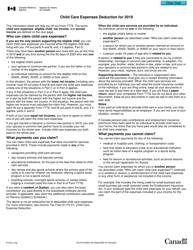 "Form T778 ""Child Care Expenses Deduction"" - Canada, 2019"