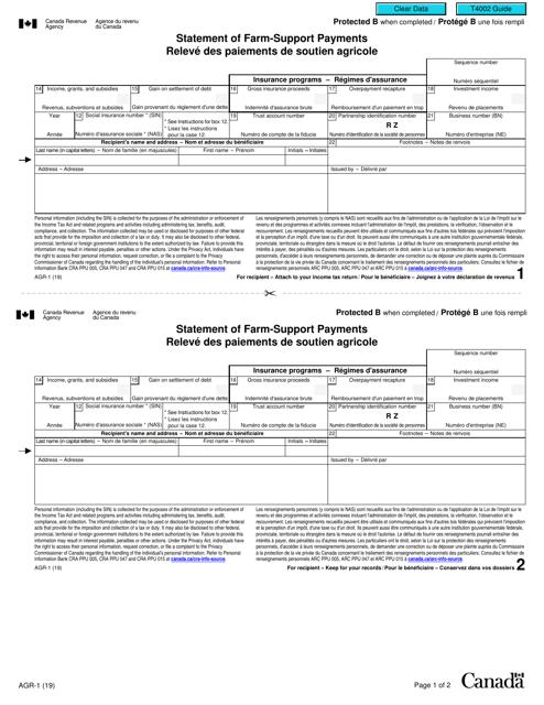 Form AGR-1 Printable Pdf