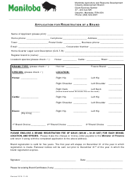 """""""Application for Registration of a Brand"""" - Manitoba, Canada"""