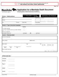 """Application for a Manitoba Death Document"" - Manitoba, Canada"