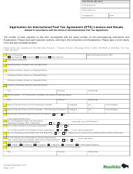 """Application for International Fuel Tax Agreement (Ifta) Licence and Decals"" - Manitoba, Canada"