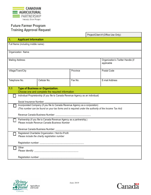 """Future Farmer Program Training Approval Request"" - Prince Edward Island, Canada Download Pdf"