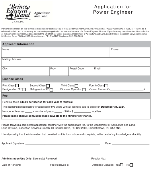 """Application for Power Engineer"" - Prince Edward Island, Canada Download Pdf"