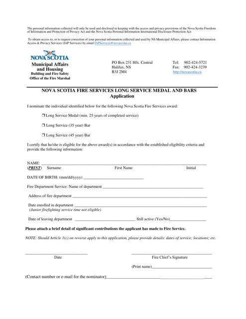 """""""Nova Scotia Fire Services Long Service Medal and Bars Application"""" - Nova Scotia, Canada Download Pdf"""