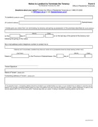 "Form 6 ""Notice to Landlord to Terminate the Tenancy"" - Saskatchewan, Canada"