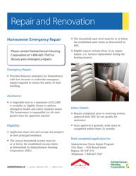 "Form H09FS ""Saskatchewan Home Repair Program - Emergency Repair Application Form"" - Saskatchewan, Canada"