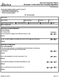 """Form CDEV4030 """"Day Care Inspection Report (Schedule 1 of the Child Care Licensing Regulation)"""" - Alberta, Canada"""