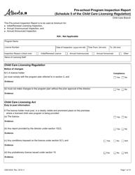"Form CDEV4032 ""Pre-school Program Inspection Report (Schedule 5 of the Child Care Licensing Regulation)"" - Alberta, Canada"