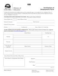 """Verification of Employment Form"" - British Columbia, Canada"