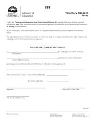 """Voluntary Consent Form"" - British Columbia, Canada"