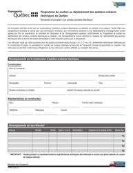 """Forme V-3032 """"Programme De Soutien Au Deploiement DES Autobus Scolaires Electriques Au Quebec - Demande D'inscription D'un Autobus Scolaire Electriques"""" - Quebec, Canada (French)"""
