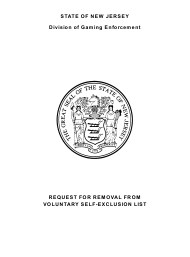 """Form 71 """"Request for Removal From Voluntary Self-exclusion List"""" - New Jersey"""