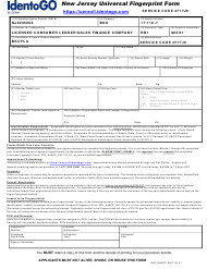 """New Jersey Universal Fingerprint Form - Licensed Consumer Lender/Sales Finance Company"" - New Jersey"