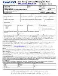 """New Jersey Universal Fingerprint Form - Check Cashing License/Employment"" - New Jersey"