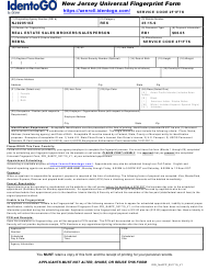 """New Jersey Universal Fingerprint Form - Real Estate Sales/Brokers/Salesperson"" - New Jersey"
