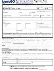 """New Jersey Universal Fingerprint Form - Real Estate School License"" - New Jersey"