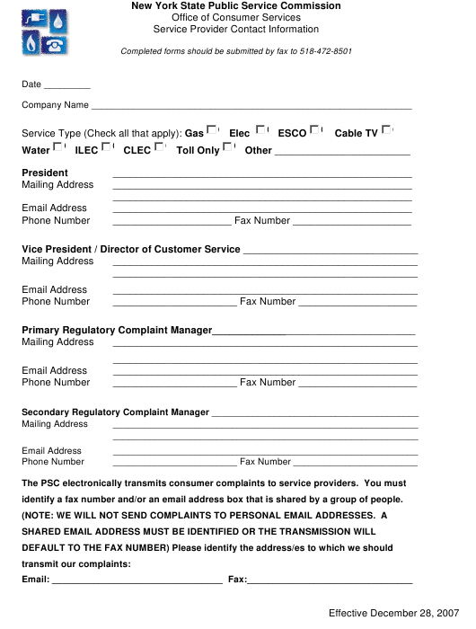 """Utility Service Provider Contact Information Form"" - New York Download Pdf"