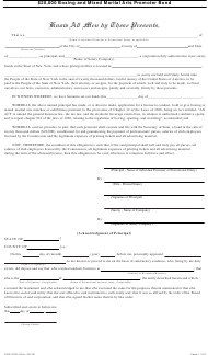 "Form DOS-0334 ""$20,000 Boxing and Mixed Martial Arts Promoter Bond"" - New York"