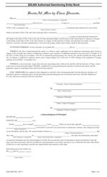 """Form DOS-2059 """"$20,000 Authorized Sanctioning Entity Bond"""" - New York"""