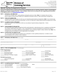 "Form DOS-1591-F ""Special Testing Arrangements Request"" - New York"