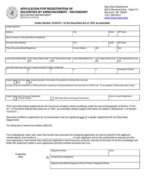 Form SFN54147 Printable Pdf