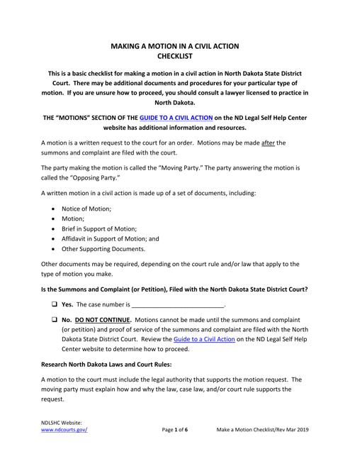 """Making a Motion in a Civil Action Checklist"" - North Dakota Download Pdf"