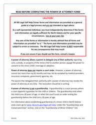 """Power of Attorney for Care and Custody of Minor Child(Ren)"" - North Dakota"