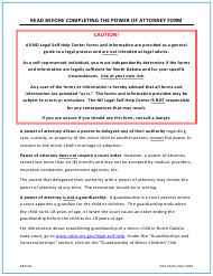 """Power of Attorney for Care and Custody of Minor Child"" - North Dakota"