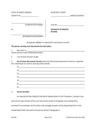 """Affidavit of Service by Mail"" - North Dakota"