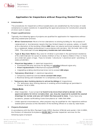 """Form DIC-3018 """"Application for Inspection Without Requiring Sealed Plans"""" - Ohio"""