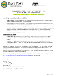 """""""Subject Matter Expert Application Form - Private Security Basic Training"""" - Ohio"""