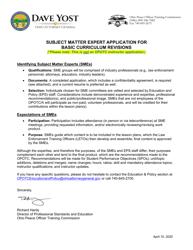 """Subject Matter Expert Application Form - Peace Officer Basic Training"" - Ohio"