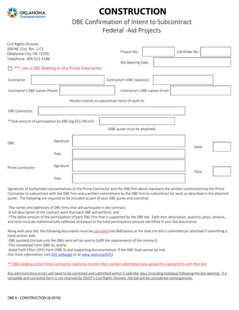 DBE Form 6  Printable Pdf