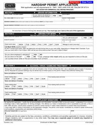 "Form 735-6044 ""Hardship Permit Application"" - Oregon"