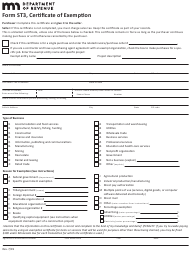 "Form ST3 ""Certificate of Exemption"" - Minnesota"