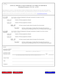 "Form WT-1 ""Annual Prosecutor Summary of Wiretap Reports"""