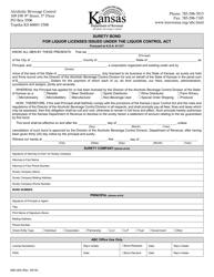 "Form ABC-804 ""Surety Bond for Liquor Licenses Issued Under the Liquor Control Act"" - Kansas"