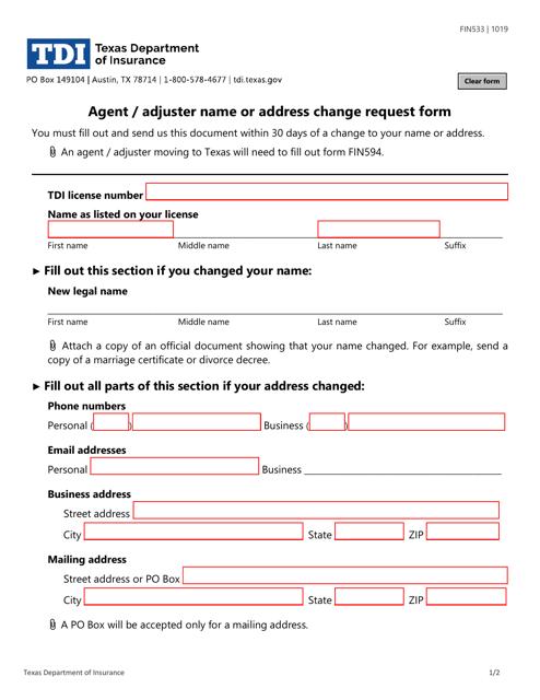 Form FIN533  Printable Pdf